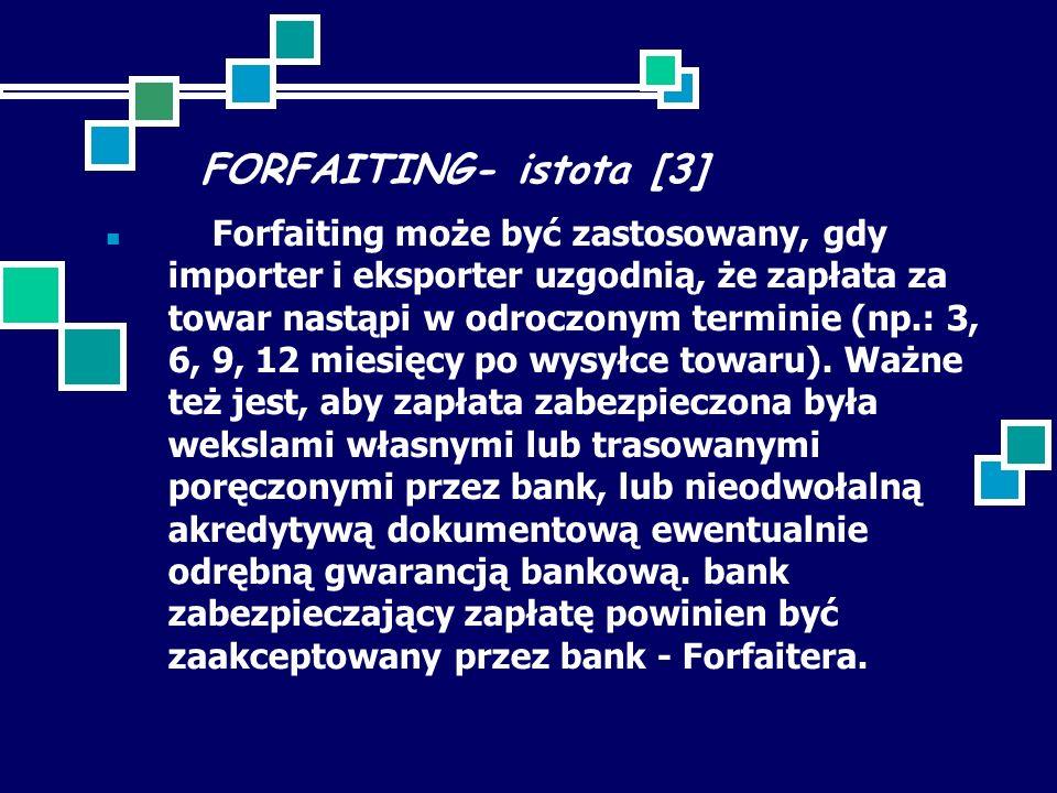 FORFAITING- istota [3] Forfaiting może być zastosowany, gdy importer i eksporter uzgodnią, że zapłata za towar nastąpi w odroczonym terminie (np.: 3, 6, 9, 12 miesięcy po wysyłce towaru).