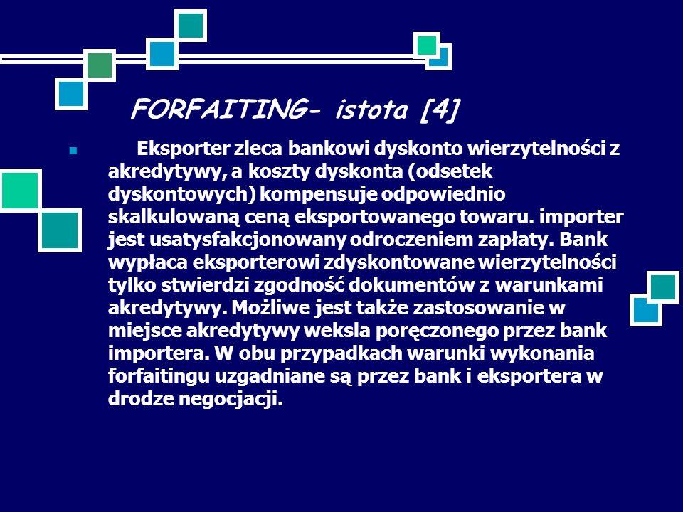 FORFAITING- istota [4] Eksporter zleca bankowi dyskonto wierzytelności z akredytywy, a koszty dyskonta (odsetek dyskontowych) kompensuje odpowiednio skalkulowaną ceną eksportowanego towaru.