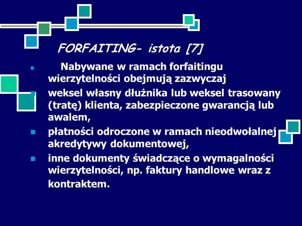 FORFAITING- istota [7] Nabywane w ramach forfaitingu wierzytelności obejmują zazwyczaj weksel własny dłużnika lub weksel trasowany (tratę) klienta, zabezpieczone gwarancją lub awalem, płatności odroczone w ramach nieodwołalnej akredytywy dokumentowej, inne dokumenty świadczące o wymagalności wierzytelności, np.