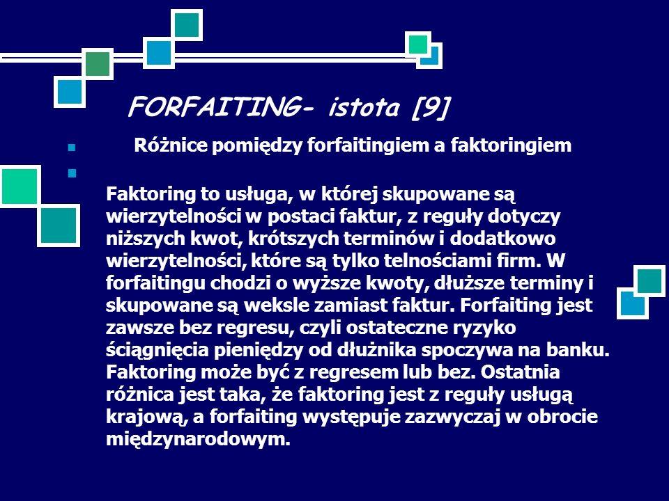 FORFAITING- istota [9] Różnice pomiędzy forfaitingiem a faktoringiem Faktoring to usługa, w której skupowane są wierzytelności w postaci faktur, z reguły dotyczy niższych kwot, krótszych terminów i dodatkowo wierzytelności, które są tylko telnościami firm.