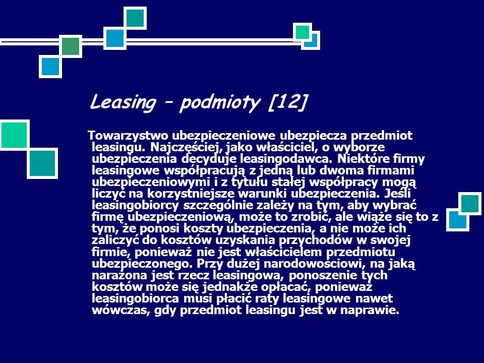 Leasing – podmioty [12] Towarzystwo ubezpieczeniowe ubezpiecza przedmiot leasingu. Najczęściej, jako właściciel, o wyborze ubezpieczenia decyduje leas