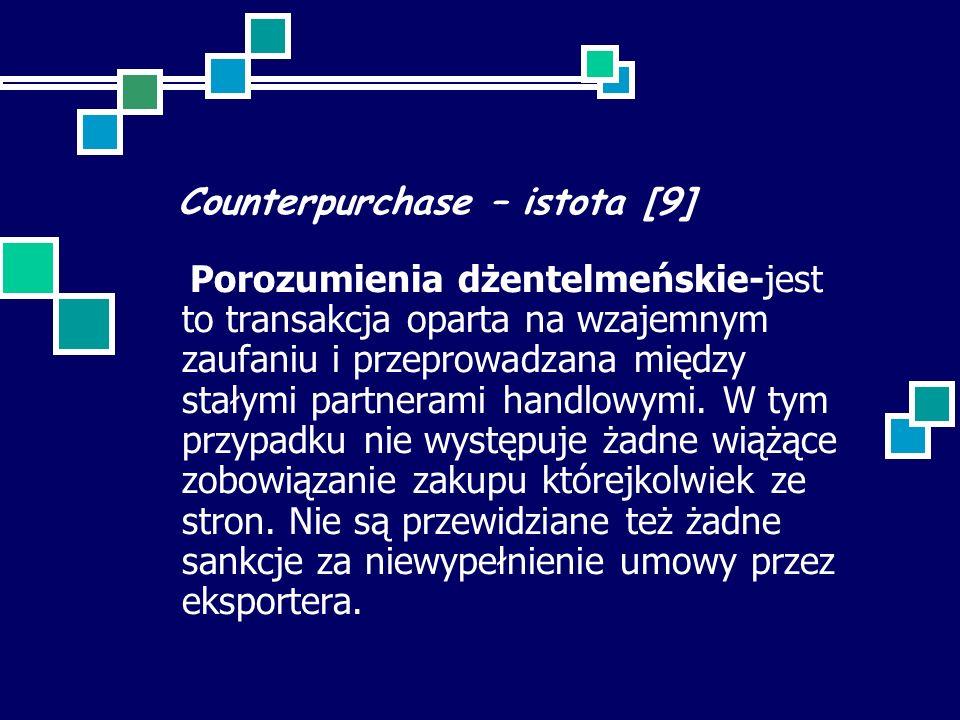 Counterpurchase – istota [9] Porozumienia dżentelmeńskie-jest to transakcja oparta na wzajemnym zaufaniu i przeprowadzana między stałymi partnerami handlowymi.