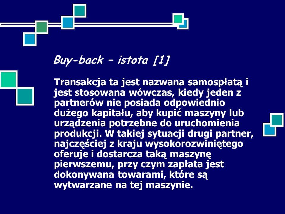 Buy-back – istota [1] Transakcja ta jest nazwana samospłatą i jest stosowana wówczas, kiedy jeden z partnerów nie posiada odpowiednio dużego kapitału, aby kupić maszyny lub urządzenia potrzebne do uruchomienia produkcji.