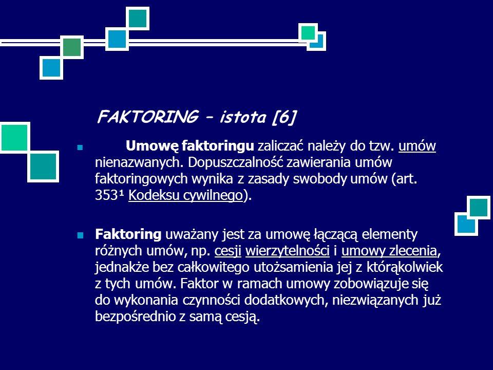 FAKTORING – istota [6] Umowę faktoringu zaliczać należy do tzw. umów nienazwanych. Dopuszczalność zawierania umów faktoringowych wynika z zasady swobo