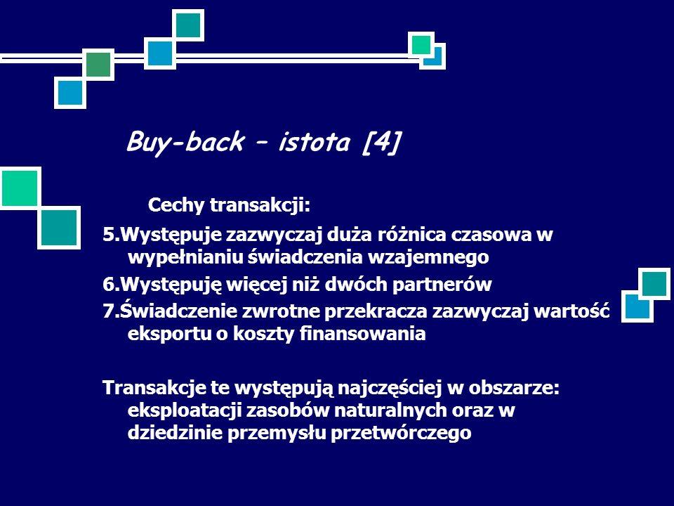 Buy-back – istota [4] Cechy transakcji: 5.Występuje zazwyczaj duża różnica czasowa w wypełnianiu świadczenia wzajemnego 6.Występuję więcej niż dwóch partnerów 7.Świadczenie zwrotne przekracza zazwyczaj wartość eksportu o koszty finansowania Transakcje te występują najczęściej w obszarze: eksploatacji zasobów naturalnych oraz w dziedzinie przemysłu przetwórczego