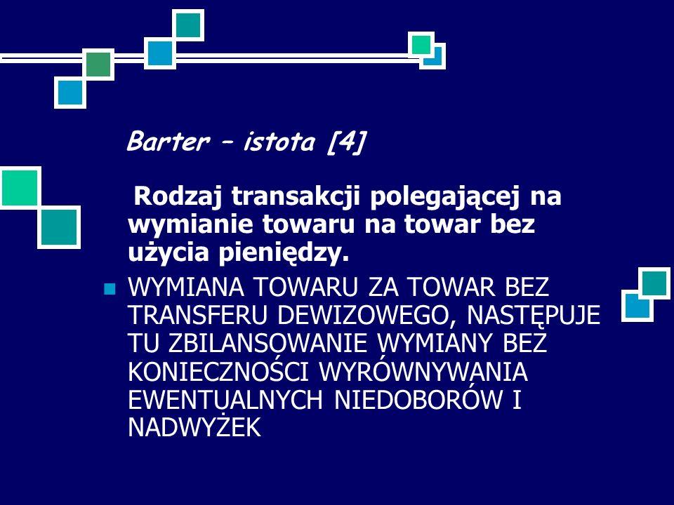 Barter – istota [4] Rodzaj transakcji polegającej na wymianie towaru na towar bez użycia pieniędzy. WYMIANA TOWARU ZA TOWAR BEZ TRANSFERU DEWIZOWEGO,