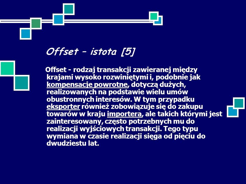 Offset – istota [5] Offset - rodzaj transakcji zawieranej między krajami wysoko rozwiniętymi i, podobnie jak kompensacje powrotne, dotyczą dużych, realizowanych na podstawie wielu umów obustronnych interesów.