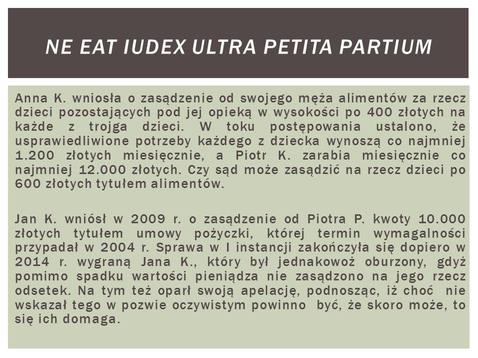 Anna K. wniosła o zasądzenie od swojego męża alimentów za rzecz dzieci pozostających pod jej opieką w wysokości po 400 złotych na każde z trojga dziec