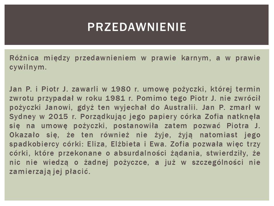 Różnica między przedawnieniem w prawie karnym, a w prawie cywilnym. Jan P. i Piotr J. zawarli w 1980 r. umowę pożyczki, której termin zwrotu przypadał