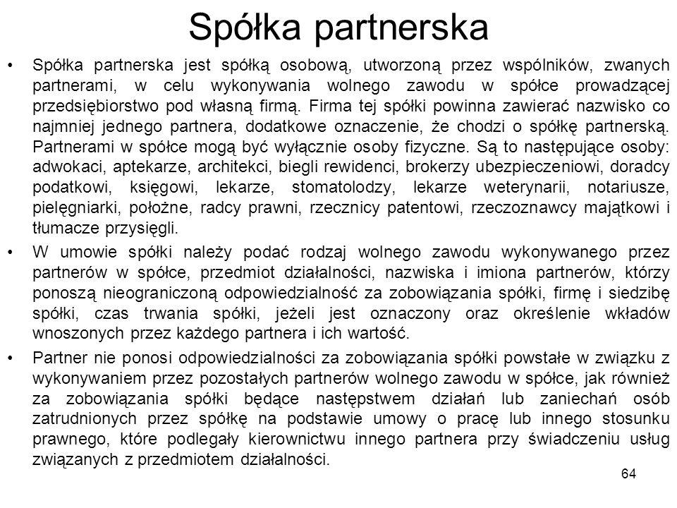 Spółka partnerska Spółka partnerska jest spółką osobową, utworzoną przez wspólników, zwanych partnerami, w celu wykonywania wolnego zawodu w spółce prowadzącej przedsiębiorstwo pod własną firmą.