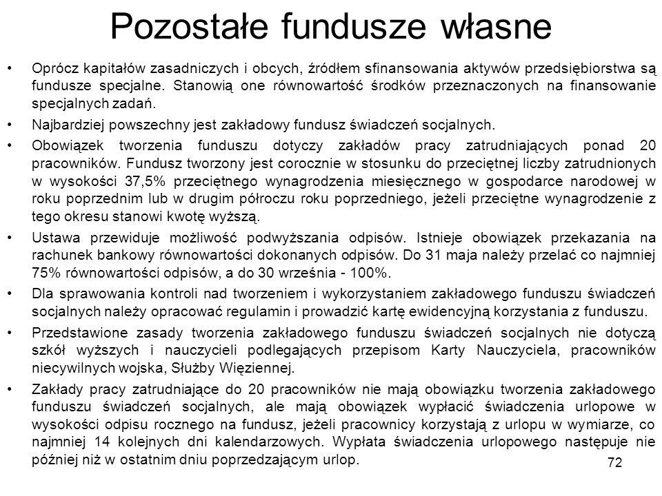 Pozostałe fundusze własne Oprócz kapitałów zasadniczych i obcych, źródłem sfinansowania aktywów przedsiębiorstwa są fundusze specjalne. Stanowią one r