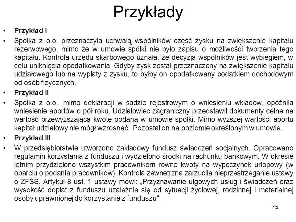 Przykłady Przykład I Spółka z o.o.