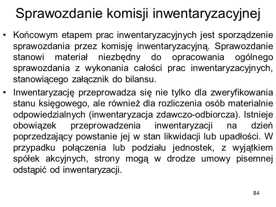 Sprawozdanie komisji inwentaryzacyjnej Końcowym etapem prac inwentaryzacyjnych jest sporządzenie sprawozdania przez komisję inwentaryzacyjną. Sprawozd