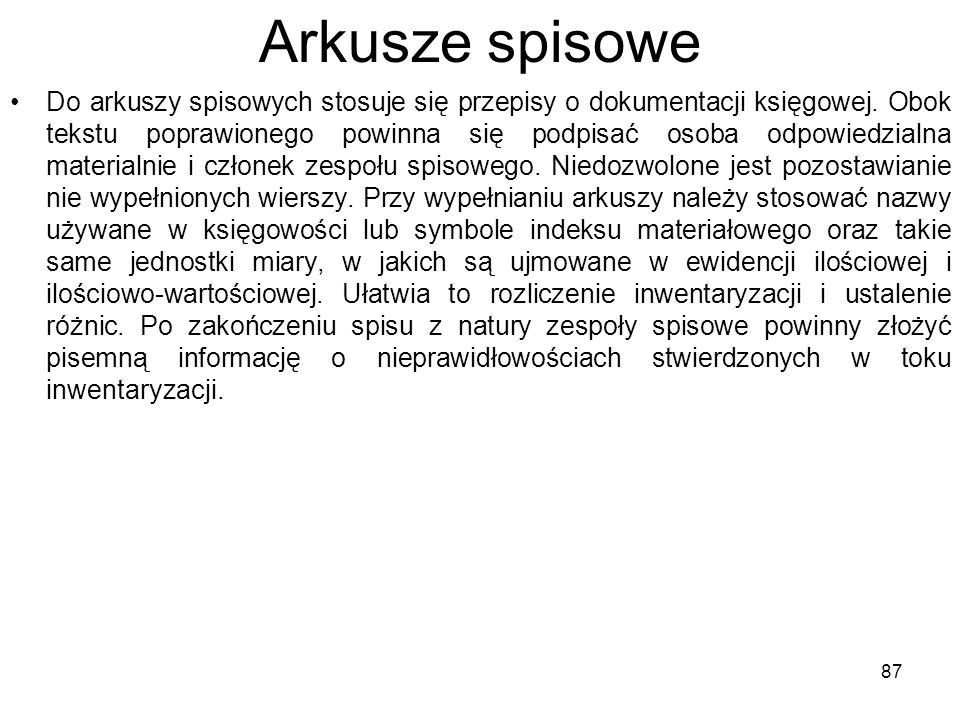 Arkusze spisowe Do arkuszy spisowych stosuje się przepisy o dokumentacji księgowej.