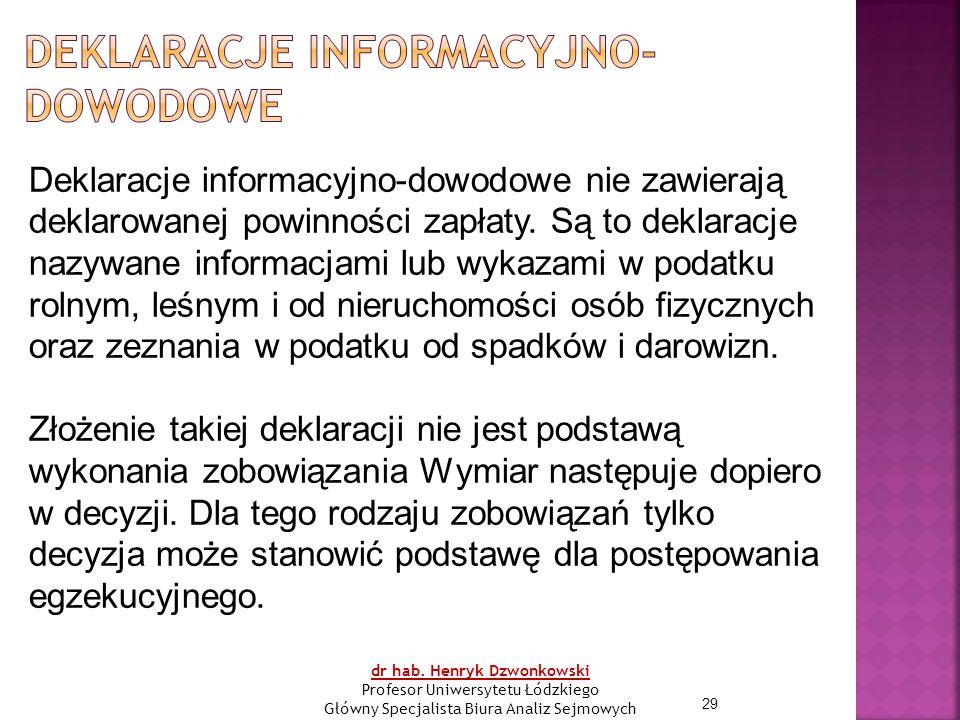 29 Deklaracje informacyjno-dowodowe nie zawierają deklarowanej powinności zapłaty.