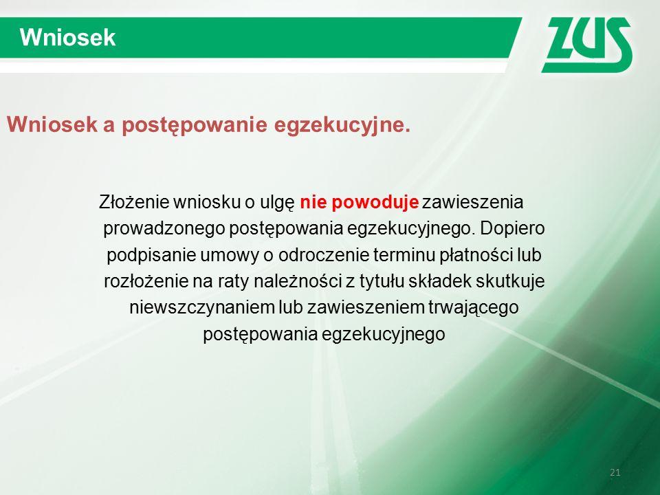 21 Wniosek Wniosek a postępowanie egzekucyjne.