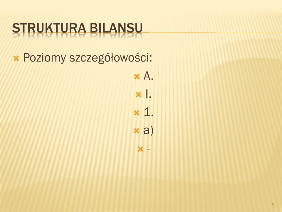  Poziomy szczegółowości:  A.  I.  1.  a) -- 5