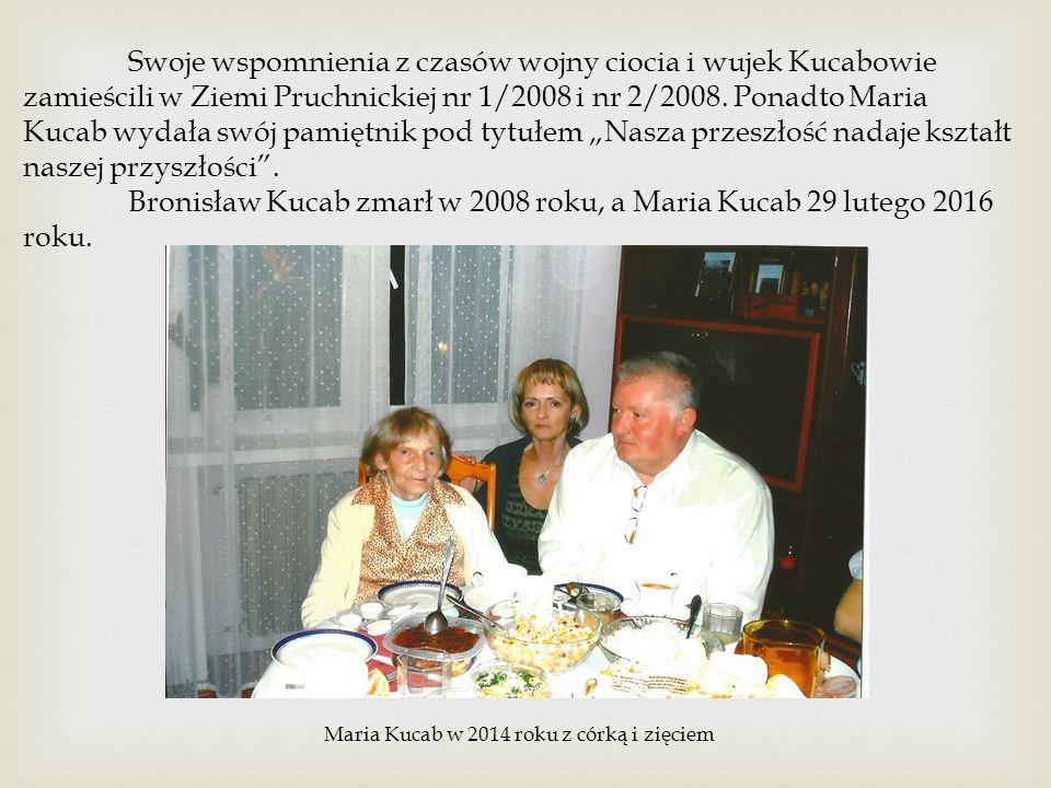 Swoje wspomnienia z czasów wojny ciocia i wujek Kucabowie zamieścili w Ziemi Pruchnickiej nr 1/2008 i nr 2/2008.