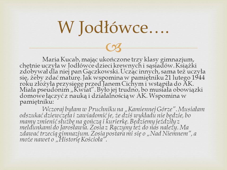  Maria Kucab, mając ukończone trzy klasy gimnazjum, chętnie uczyła w Jodłówce dzieci krewnych i sąsiadów.