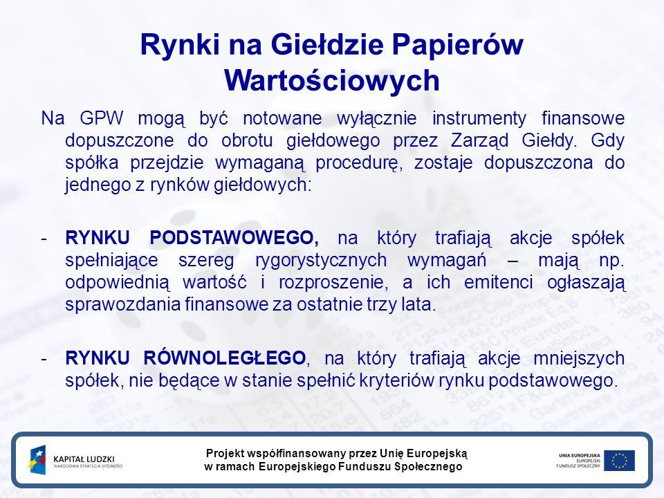 Rynki na Giełdzie Papierów Wartościowych Na GPW mogą być notowane wyłącznie instrumenty finansowe dopuszczone do obrotu giełdowego przez Zarząd Giełdy.