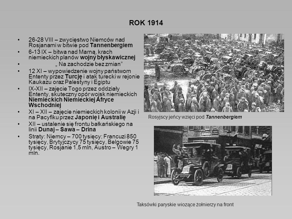 """ROK 1914 26-28 VIII – zwycięstwo Niemców nad Rosjanami w bitwie pod Tannenbergiem 6-13 IX – bitwa nad Marną, krach niemieckich planów wojny błyskawicznej """" Na zachodzie bez zmian 12 XI – wypowiedzenie wojny państwom Ententy przez Turcję i atak turecki w rejonie Kaukazu oraz Palestyny i Egiptu IX-XII – zajęcie Togo przez oddziały Ententy, skuteczny opór wojsk niemieckich Niemieckich Niemieckiej Afryce Wschodniej XI – XII – zajęcie niemieckich kolonii w Azji i na Pacyfiku przez Japonię i Australię XII – ustalenie się frontu bałkańskiego na linii Dunaj – Sawa – Drina Straty: Niemcy – 700 tysięcy; Francuzi 850 tysięcy, Brytyjczycy 75 tysięcy, Belgowie 75 tysięcy, Rosjanie 1,5 mln, Austro – Wegry 1 mln."""