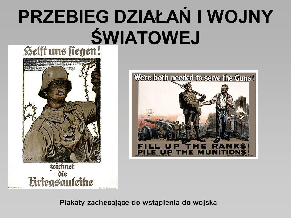 PRZEBIEG DZIAŁAŃ I WOJNY ŚWIATOWEJ Plakaty zachęcające do wstąpienia do wojska