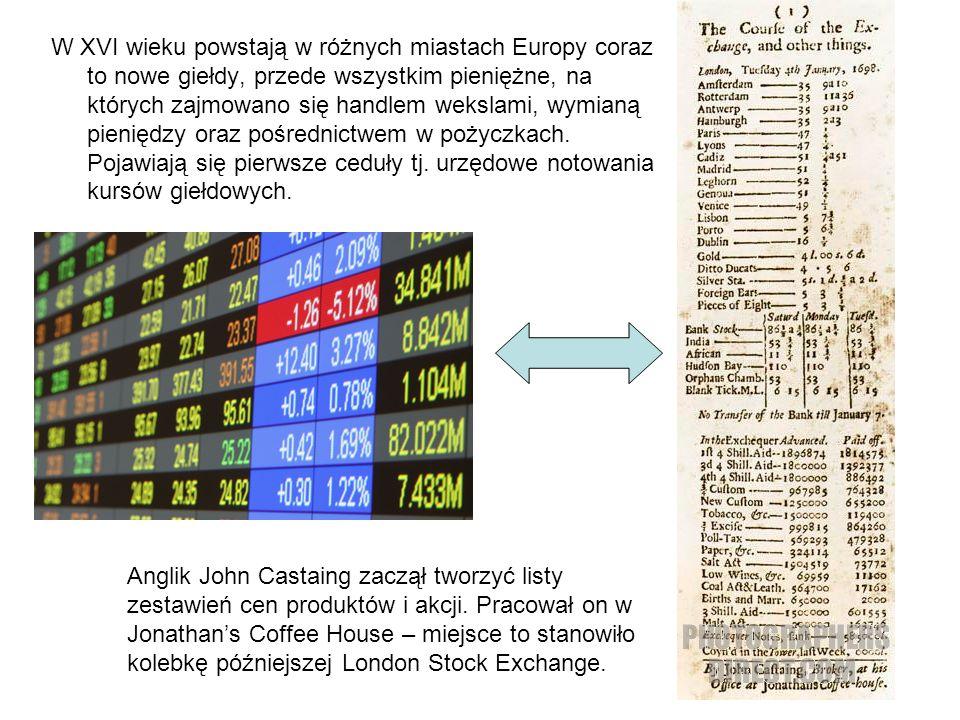 W XVI wieku powstają w różnych miastach Europy coraz to nowe giełdy, przede wszystkim pieniężne, na których zajmowano się handlem wekslami, wymianą pieniędzy oraz pośrednictwem w pożyczkach.