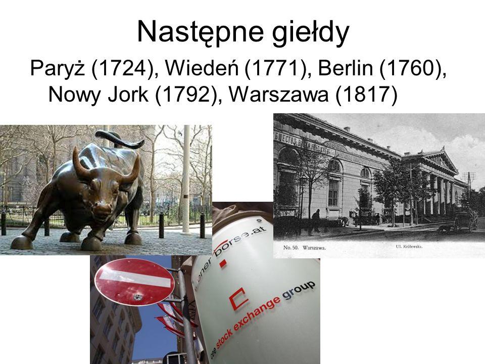 Następne giełdy Paryż (1724), Wiedeń (1771), Berlin (1760), Nowy Jork (1792), Warszawa (1817)