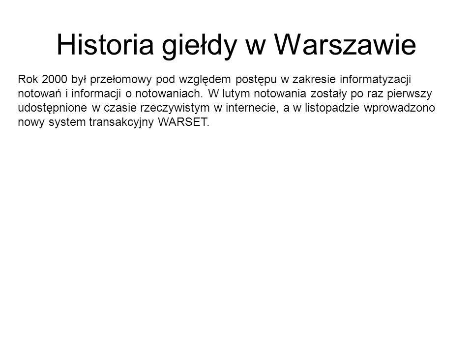Historia giełdy w Warszawie Rok 2000 był przełomowy pod względem postępu w zakresie informatyzacji notowań i informacji o notowaniach. W lutym notowan