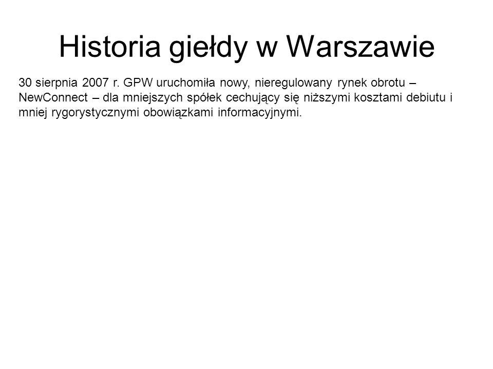 Historia giełdy w Warszawie 30 sierpnia 2007 r. GPW uruchomiła nowy, nieregulowany rynek obrotu – NewConnect – dla mniejszych spółek cechujący się niż