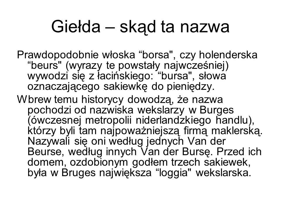 Historia giełdy w Warszawie Cztery dni później, 16 kwietnia odbyła się pierwsza sesja giełdowa z udziałem 7 domów maklerskich, na której notowano akcje 5 spółek: Tonsil, Krosno, Kable, Próchnik, Exbud.