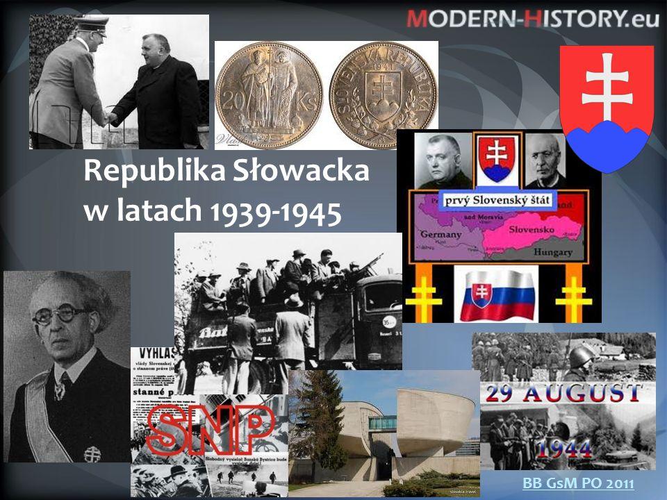 """14.3.1949 – powstanie RS 23.3.1939 – Układ o stosunku ochronnym między Rzeszą Niemiecką a Republiką Słowacką - prowadzić politykę zagraniczną w """"ścisłym porozumieniu z rządem niemieckim , - armię budować w """"ścisłym porozumieniu z niemieckimi siłami zbrojnymi , - wzdłuż granicy z Morawami """"strefa ochronna z niemieckimi jednostkami, - umowy o wykorzystywaniu zakładów zbrojeniowych, armia nadzorowana przez niemiecką misję wojskową, """"niemieccy doradcy w urzędach, - 21 lipca 1939 r."""