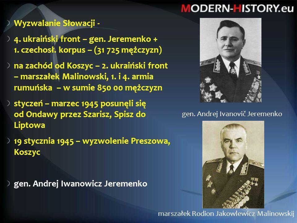 Wyzwalanie Słowacji - 4. ukraiński front – gen. Jeremenko + 1.