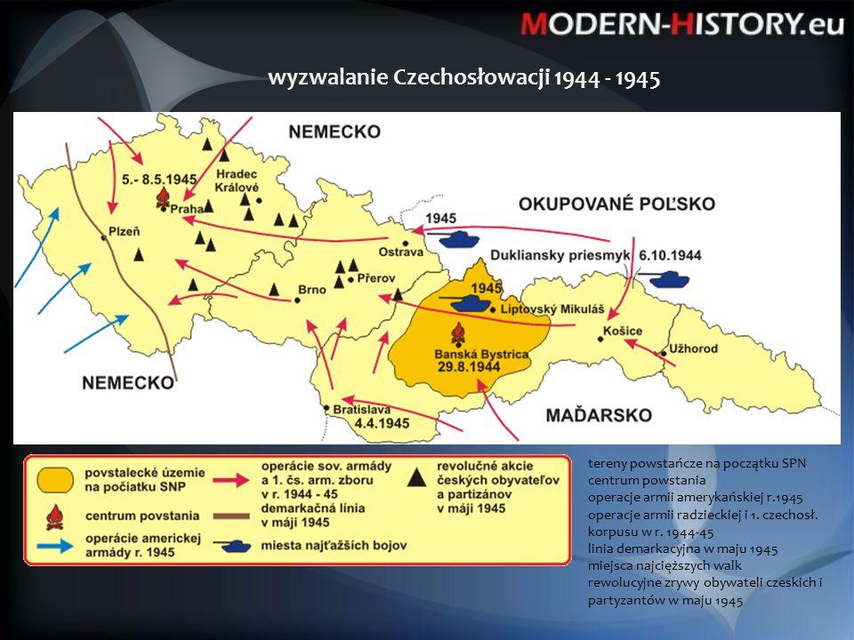 wyzwalanie Czechosłowacji 1944 - 1945 tereny powstańcze na początku SPN centrum powstania operacje armii amerykańskiej r.1945 operacje armii radzieckiej i 1.