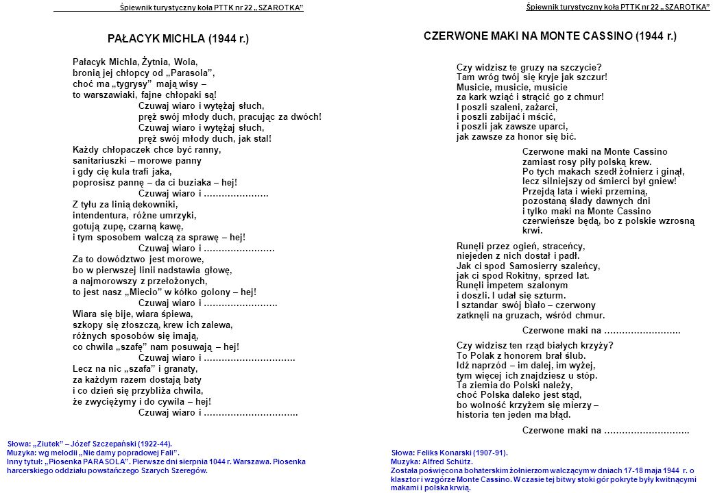 """Śpiewnik turystyczny koła PTTK nr 22 """"SZAROTKA PAŁACYK MICHLA (1944 r.) Pałacyk Michla, Żytnia, Wola, bronią jej chłopcy od """"Parasola , choć ma """"tygrysy mają wisy – to warszawiaki, fajne chłopaki są."""