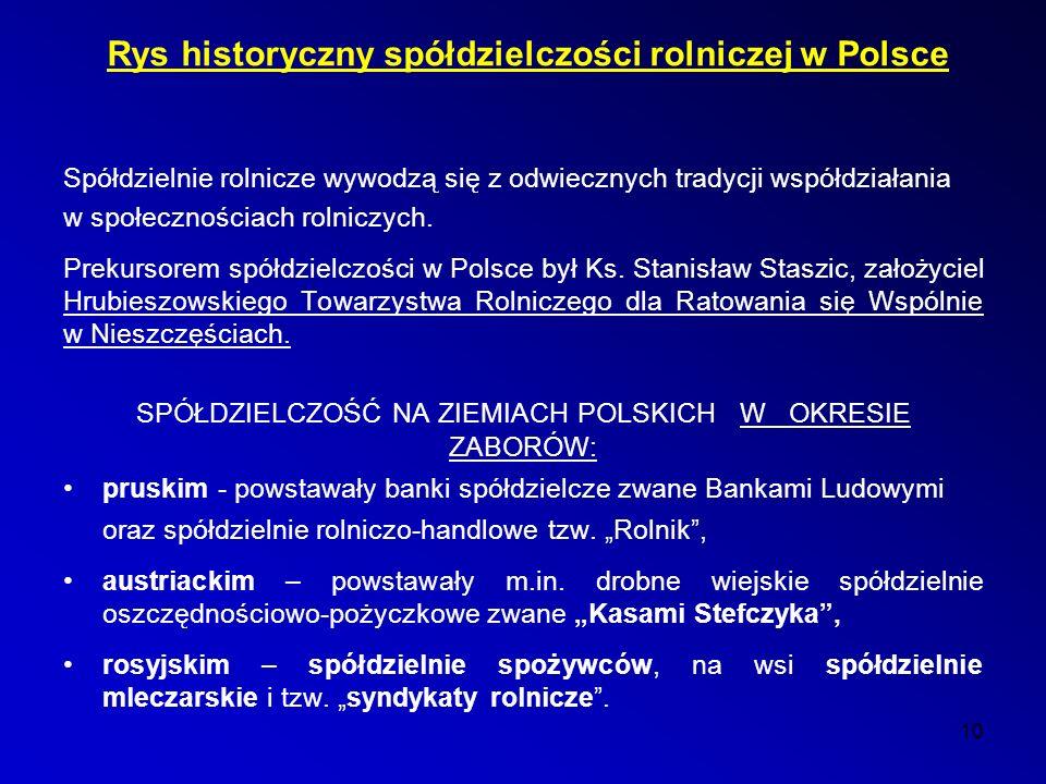 Rys historyczny spółdzielczości rolniczej w Polsce Spółdzielnie rolnicze wywodzą się z odwiecznych tradycji współdziałania w społecznościach rolniczych.
