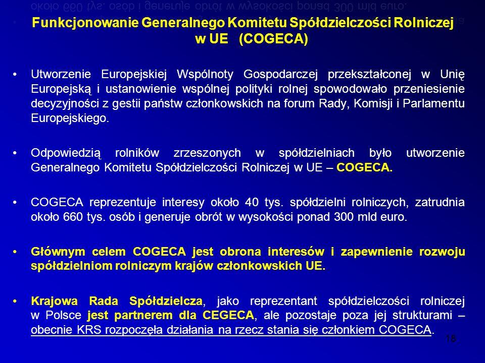 Funkcjonowanie Generalnego Komitetu Spółdzielczości Rolniczej w UE (COGECA) 18