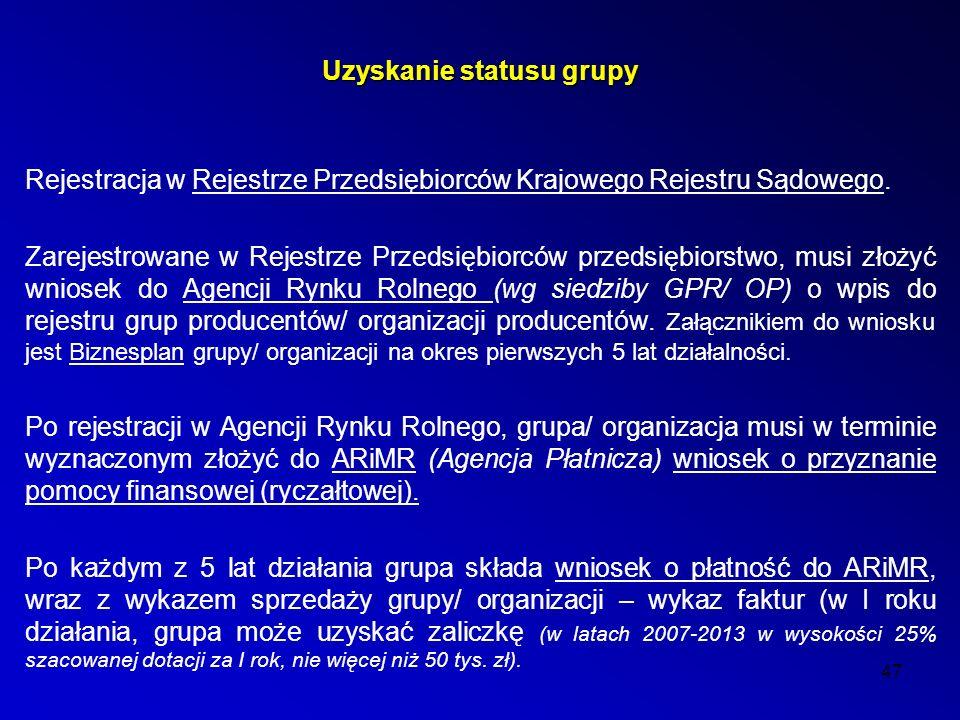 47 Uzyskanie statusu grupy Rejestracja w Rejestrze Przedsiębiorców Krajowego Rejestru Sądowego.