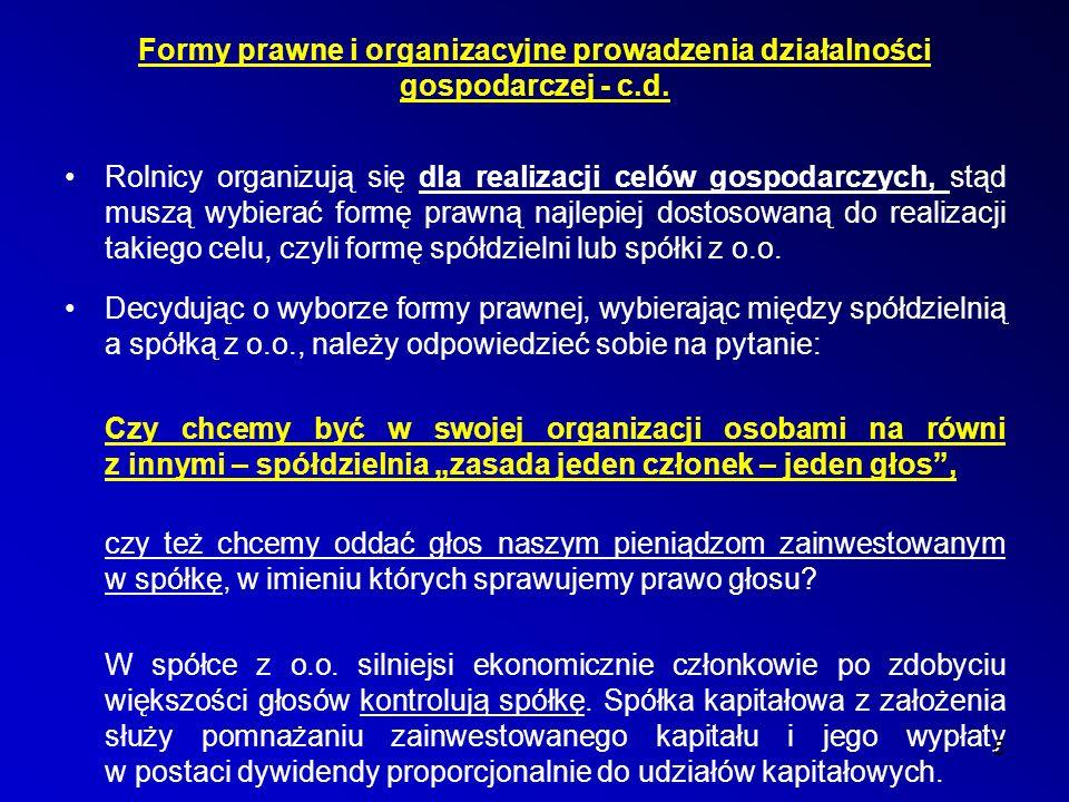 Spółdzielczość rolnicza w wybranych krajach na świecie c.d.