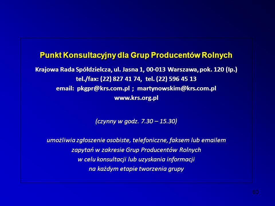 60 Punkt Konsultacyjny dla Grup Producentów Rolnych Krajowa Rada Spółdzielcza, ul.