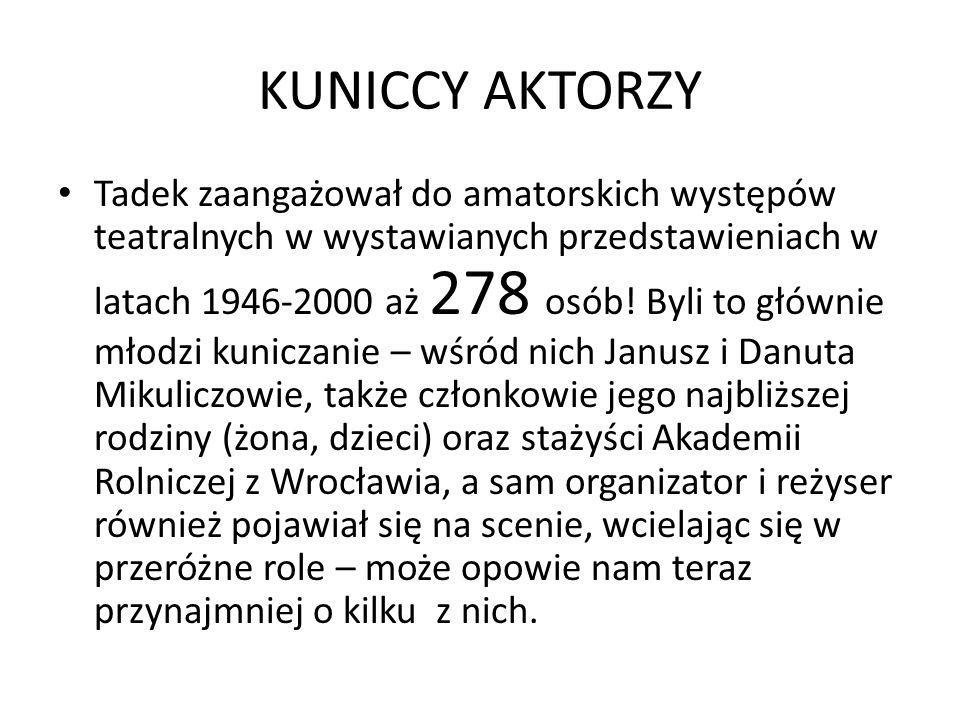 KUNICCY AKTORZY Tadek zaangażował do amatorskich występów teatralnych w wystawianych przedstawieniach w latach 1946-2000 aż 278 osób.