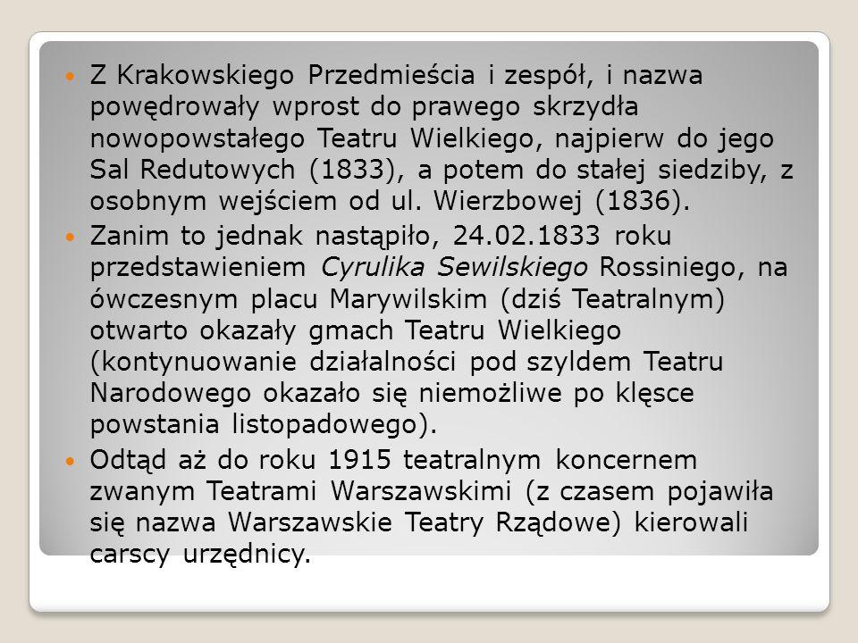 Z Krakowskiego Przedmieścia i zespół, i nazwa powędrowały wprost do prawego skrzydła nowopowstałego Teatru Wielkiego, najpierw do jego Sal Redutowych (1833), a potem do stałej siedziby, z osobnym wejściem od ul.