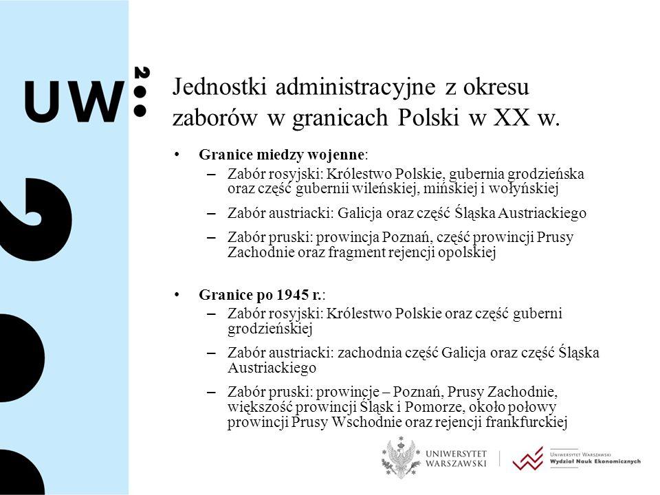 Jednostki administracyjne z okresu zaborów w granicach Polski w XX w.