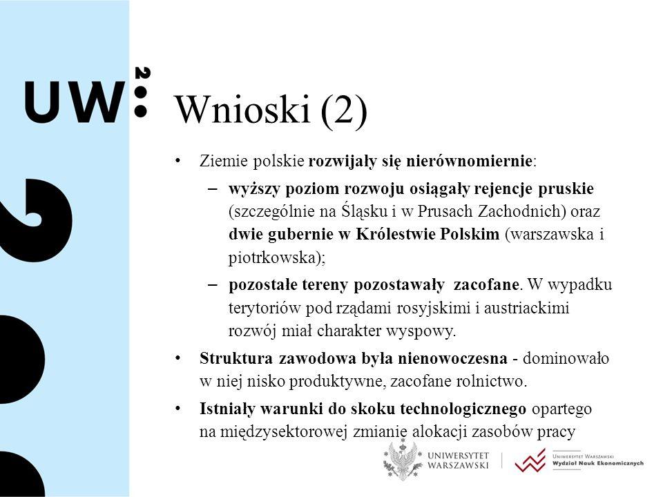 Wnioski (2) Ziemie polskie rozwijały się nierównomiernie: – wyższy poziom rozwoju osiągały rejencje pruskie (szczególnie na Śląsku i w Prusach Zachodnich) oraz dwie gubernie w Królestwie Polskim (warszawska i piotrkowska); – pozostałe tereny pozostawały zacofane.