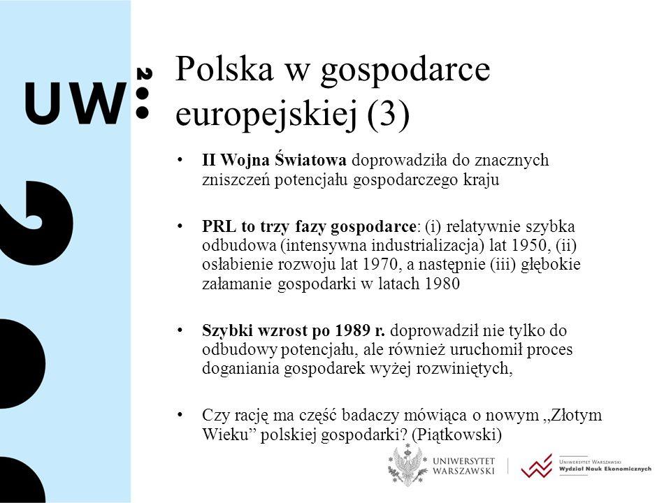 Podłoże teoretyczne (1) Nowa historia gospodarcza dostarczyć może dane i materiały do dyskusji nad procesem długookresowego rozwoju Polski Alternatywne spojrzenia: – koncepcje trwałości struktur ekonomicznych w długim okresie (Braudel, Wallerstein, Berend).
