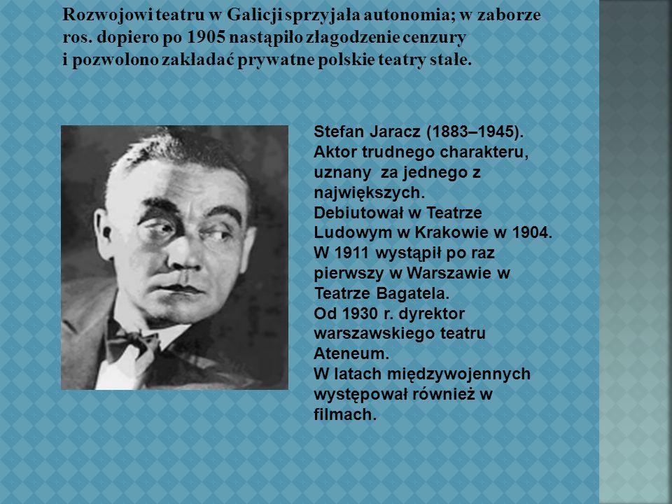 Stefan Jaracz (1883–1945). Aktor trudnego charakteru, uznany za jednego z największych.