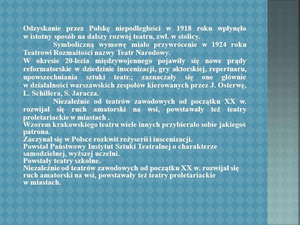 Odzyskanie przez Polskę niepodległości w 1918 roku wpłynęło w istotny sposób na dalszy rozwój teatru, zwł.
