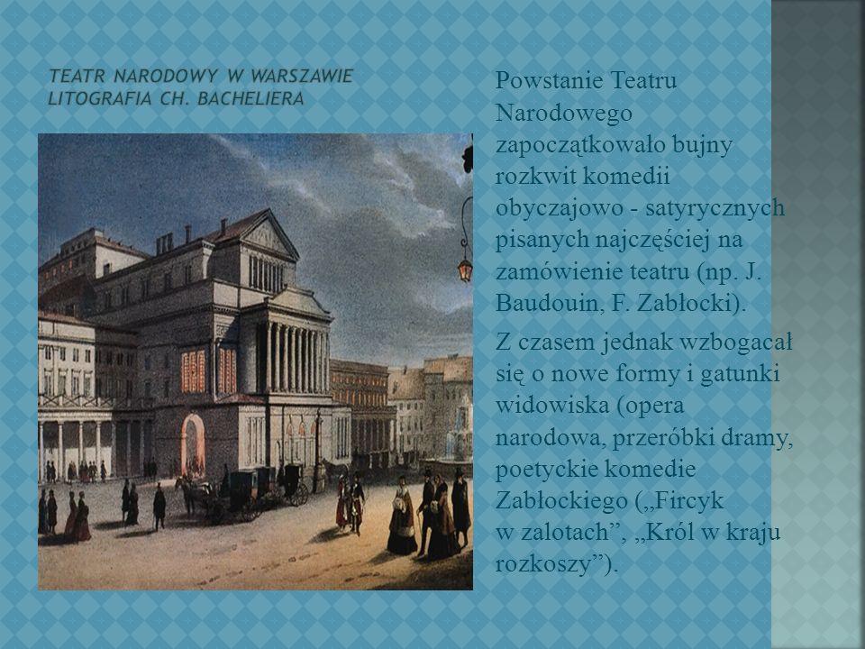 Teatr wyrażał nowe tendencje estetyczne i polityczne, zwłaszcza w okresie Sejmu Czteroletniego i targowicy.