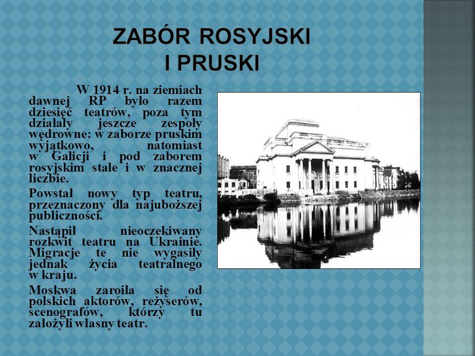 Wraz z powstaniem styczniowym skończył się w Polsce teatr szlachecki, a jego miejsce zajmował nowy, inteligencko- mieszczański.
