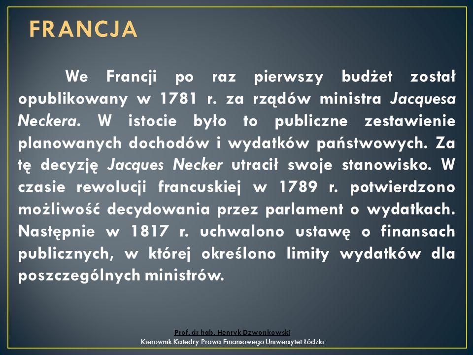 We Francji po raz pierwszy budżet został opublikowany w 1781 r.